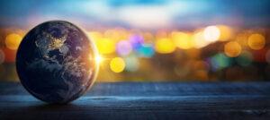 地球儀,眩しい光